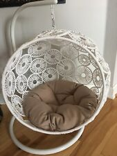 Pet White Wicker Round Hanging Hammock Bed New