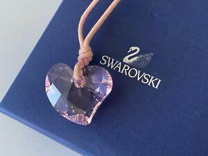 Swarovski Pretty Pink Crystal Heart Cord Necklace New in Box