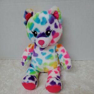 "Build A Bear BAB Rainbow Hearts Kitty Cat 16"" Stuffed Plush Toy Hook Loop Hands"