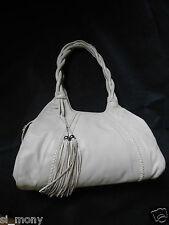 Women Beige Shoulder Bag Tassels 2 straps Real Leather divided M&S Size L