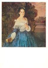 Russia Moscow Konstantin Somov lady in blue woman dress book Postcard