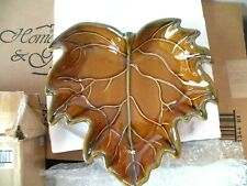 HOME INTERIORS Brown Leaf Shaped Ceramic Tray / SERVING PLATE NIB #12808
