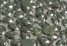100 8x10mm SILVER OVAL Acrylic sew on, stitch on, stick on  STUDS, Gems
