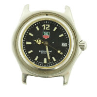 TAG HEUER PROF BLACK DIAL 200M S.S. WATCH HEAD FOR PARTS OR REPAIRS