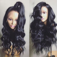 100% Brazilian Remy Human Hair Wig Pre Plucked Wavy 360 Lace Front Wigs Black Ss