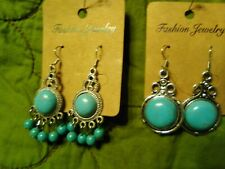 Two pair of 925 Silver Turquoise Ear  Hook Drop Dangle Wedding Hoop Earrings