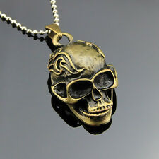 Retro Bronze Skull Head Charm Pendant Men's Necklace Accessory Leather Chain