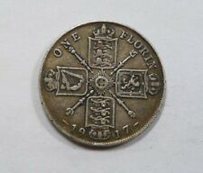 Great Britain King George V Large Silver Florin 1917 NICE Toned VERY SCARCE