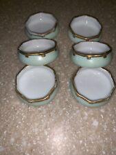 New listing Porcelain Open Salt Dip Cellar Dish Antique Gold Gilt Sign Vk Sturgis 6 Set Lot