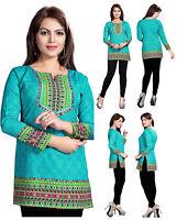 UK STOCK -Women Fashion Blue Indian Short Kurti Tunic Kurta Top Shirt Dress 126B