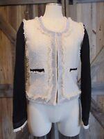 BOSTON PROPER Womens 0 Cream/Black Tweed Rhinestone Lined Blazer Jacket