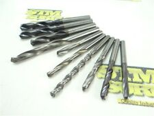 LOT OF 10 ASSORTED SOLID CARBIDE DRILLS 5.5MM TO 9.8MM DIA SGS GUHRING