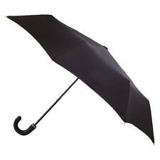 Totes Classic Gents Folding Umbrella with Leatherette Hook Handle - Black