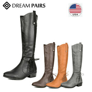 DREAM PAIRS Women's Knee High Boot Riding Faux fur Winter bow-knot Fashion Boots