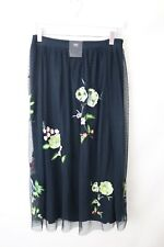 Ladies M&S Collection Navy Mix Embroided Floral Skirt Knee Length Size 8 NWT