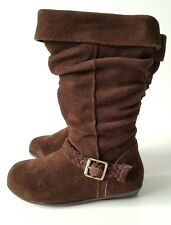 New Girl Stride Rite Clifton Leather Suede Brown Flat Fashion Tall Boot 13M $65