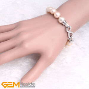 Natural 10-11mm Freshwater Pearl Beaded Bracelet 7.5'' Jewellery Christmas Gift