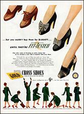 1945 Women's feet shoes Red Cross Shoes businesswoman vintage art Print Ad adL98