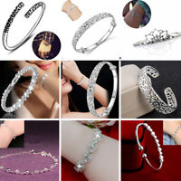 Luxury 925 Silver Jewelry Women Elegant Cuff Bracelet Bangle Chain Wristband