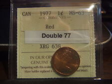 CANADA ONE CENT 1977 Double top of 77, ICCS MS-63 !!!!! Red! .