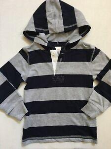 EUC Gymboree little boys hoodie striped gray navy blue shirt size 5