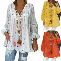 Plus Size Womens Holiday Long Sleeve Floral Blouse Tunic Baggy T Shirt Tee Tops