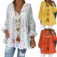 Plus Size Womens Boho V Neck Floral Blouse Tunic Shirt Long Sleeve Loose Hippie