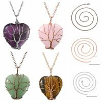 Tree of Life Wire Wrap Heart Crystal Gemstone Healing Handmade Pendant Necklace