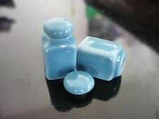2 Blue Square Canister/Cookie Jar with removable lid Dollhouse Miniatures