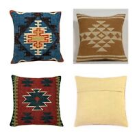 3 set of Wool Jute Cushion Cover Throw Indian Vintage Handmade Kilim Rug Pillows