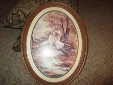 Vintage Home Interiors Victorian Couple on Bridge Print in Oval Picture Frame