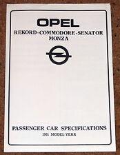 1981 OPEL REKORD COMMODORE SENATOR MONZA Specifications Guide Brochure