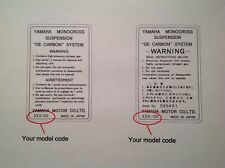 Yamaha monocross rear monoshock warning sticker label decal. Made for your model