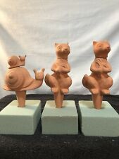 New listing 3 Terra Cotta Plant Waterers - Snail W/Baby Snail & 2 Squirrels