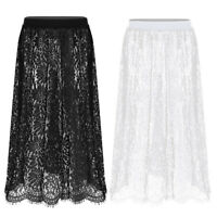 Women Lace Half Slip Dress A-line Extenders Midi Skirt Vintage Sheer Underskirt