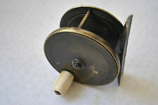 """A RARE VINTAGE GOWLAND & CO 3 & 4 CROOKED LANE 3"""" HEAVY BRASS TROUT FLY REEL"""