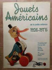 JOUETS AMERICAINS 1925-1975 AFFICHE ORIGINALE 1977 MUSEE ARTS DECORATIFS PARIS