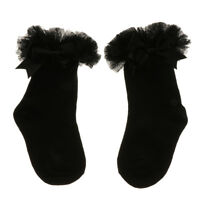 1 paio di calzini corti con fiocco in pizzo a rete da bambina