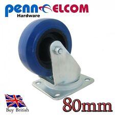 Penn Elcom 80mm Blue Wheel Swivel Castor Flightcase Fittings