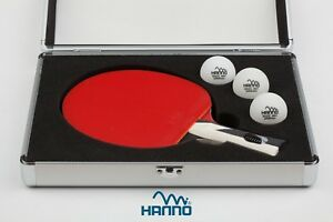 HANNO Tischtennisschläger mit ITTF-Wettkampfzulassung inkl. 3 Bälle ohne Koffer