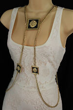 Women Gold Metal Body Chains Fashion Jewelry Harness Pool Necklace Lion Charm