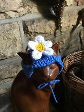Hand Knitted White Summer Daisy Hat For Your Cat/small Dog, New