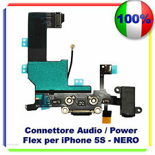 CONNETTORE CARICA DOCK MICROFONO RICARICA AUDIO FLEX PER  IPHONE 5S NERO