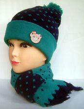 Boys Girls Baby Children's Winter Hat Roll Up Beanie Skull Cap & Scarf Set Green