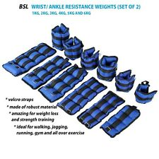 BLUE ANKLE WRIST RESISTANCE STRENGTH TRAINING EXERCISE WEIGHT BRACELET STRAP