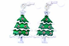 Lovely silver tone Christmas tree earrings Xmas gift