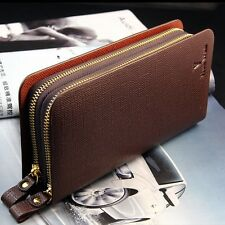 New Men's Leather Business Zip Clutch ID Card Holder Long Wallet Purse Checkbook