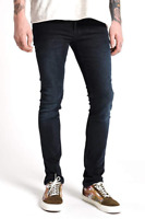 Nudie Herren Slim Skinny Fit Stretch Jeans Hose | Tube Tom Black Carbon