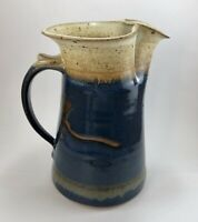 Signed Chamberlin Pottery Pitcher Clear Lake Iowa Blue Glaze Speckled Stoneware
