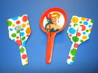 3 vintage TIN LITHO TOY NOISEMAKERS/NOISE MAKERS CIRCUS PARTY CLAPPERS lot #6